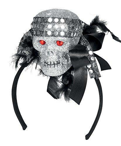 Boland 72084 - Haarreif Glitzer Totenkopf, Sonstige (Piraten Kostüme Skelett)