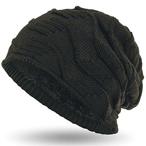 Compagno Mütze warm gefütterte Wintermütze elegantes Strickmuster mit weichem Fleece-Futter Beanie, Farbe:Oliv