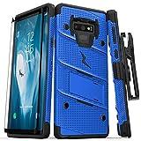 Zizo 1BOLT-SAMGN9-BLBK Hülle für Samsung Galaxy Note 9 mit Military Grade + Glasfolie, Standfuß Blau/Schwarz