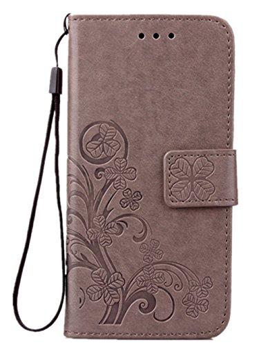 Luxus Tasche für Apple iPhone 8 und iPhone 7 Case Außenseite aus Echt Leder Innenseite aus Textil Schutz Hülle seitlich aufklappbar Ultra Slim Cover Hülle Four Leaves Clover (Graue) Klappe Hat
