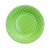 Leisial 10 Stücke 7 Zoll Einwegteller Farbe Runde Wellenpunktform Pappteller Partei Pappteller Grün 18CM