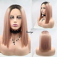 Peluca de pelo corto, recto, sintético, de 36 cm de longitud, de