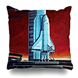 kissenbezüge Throw Pillows Covers For Couch/Bed 18 x 18 inch,Soviet Space Shuttle Full Moon Launch pad Concept Home Sofa Cushion Cover Pillowcase Gift Decorative Hidden Zipper Summer Beach Sunlight