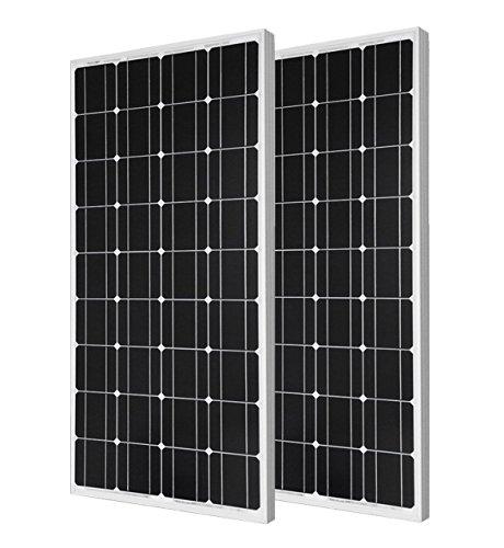 ECO-WORTHY 200 Watts Solaranlage 12 V - 2 x 100W Solarpanel Monokristallin Solarmodul Photovoltaik Ideal zum Aufladen von 12V 24V Batterien
