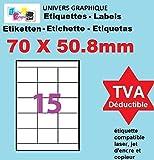 20 Planches de 15 étiquettes 70 x 50.8 mm = 300 etiquettes - Blanc Mat - pour imprimantes Laser et Jet d'encre - Feuilles A4 autocollantes référence univers UGE0015V2