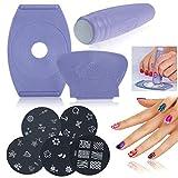 Set Nagel Stempel Schablone Stempel Schablonenbild Druckplatte Nagelkunst DIY Werkzeug