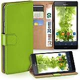 OneFlow Tasche für Sony Xperia Z3 Hülle Cover mit Kartenfächern | Flip Case Etui Handyhülle zum Aufklappen | Handytasche Schutzhülle Zubehör Handy Schutz Bumper in Hellgrün