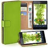 moex Sony Xperia Z3 | Hülle Grün mit Karten-Fach 360° Book Klapp-Hülle Handytasche Kunst-Leder Handyhülle für Sony Xperia Z3/Z3 Dual Case Flip Cover Schutzhülle Tasche