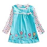 VIKITA Vestido para Niñas Manga Larga Algodón Princesa Casuales Bebe Niñas L322 7T