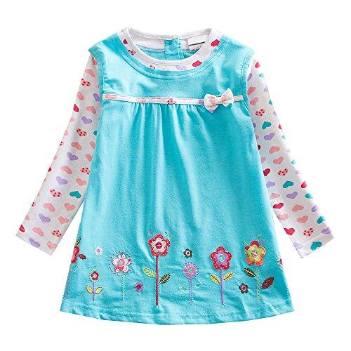 VIKITA Mädchen Bunt Print Stickerei Langarm Baumwolle Freizeit Kleid L322Blau 6T