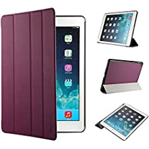 iPad Air 2 Hülle, EasyAcc Ultra Slim iPad Air 2 Hülle Case Cover Schutzhülle Bumper Lederhülle Flip mit Standfunktion / Auto Sleep Wake up für iPad Air 2 / iPad 6 (Modell Number A1566/ A1567) - Lila, Ultra Slim