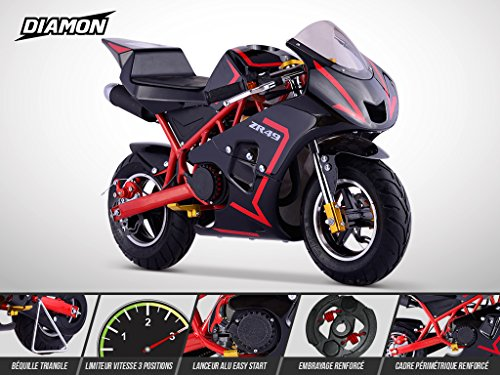 Pocket Course ZR 49 - DIAMON - Mini Moto Enfant 50cc - Rouge