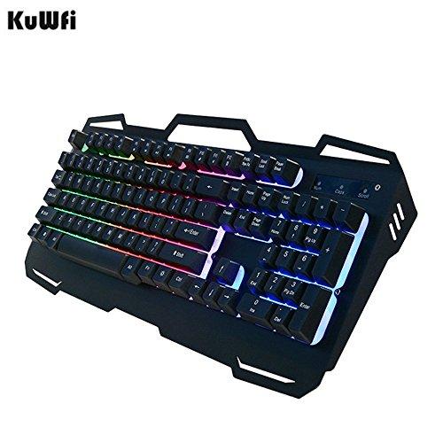 Tastiera da gioco, tastiere usb wired gamer 104chiavi di metallo pannello galleggiante tastiera retroilluminata impermeabile e antipolvere per pc