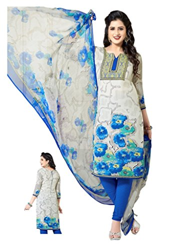 SALWAR HOUSE White & Blue unstitched Synthetic Printed Dress Material for women with Churidar Salwar dupatta-SHMONSOON19-1557  available at amazon for Rs.410