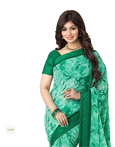 Sarees (Women\'s Clothing Saree For Women Latest Design Wear Sarees Collection in Green Coloured Georgette Material Latest Saree With Designer Blouse Free Size Beautiful Bollywood Saree For Women Part