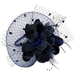 EXCHIC Mujer Sombrero De Fascinator Diadema de Plumas de Flores Boda Headwear (# Azul Marino)