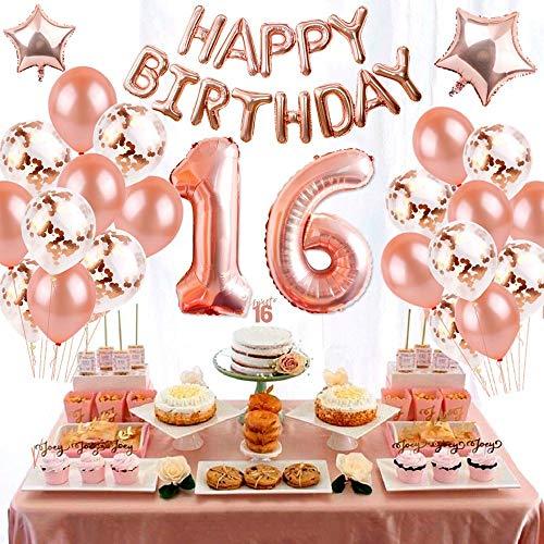 eko Set Nummer 16 Luftballon Rosegold Mädchen, Geburtstag Party Deko -2 Zahl 16 Aufblasbar Helium Folienballon+13 Happy Birthday Folienballon+ 20 Ballons + 2 Stern Ballon ()