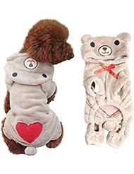 VKTECH® Manteaux pour petit chien en forme d'ours Gris/Brun clair XS/S/M/L/XL