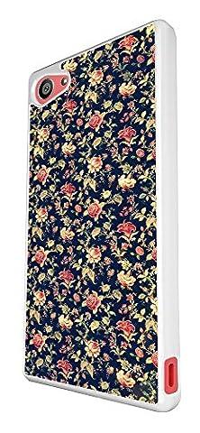 563–Cute Vintage Shabby Chic Floral Roses Fleurs Coque Sony Xperia Z5Compact/Mini Design Fashion Trend Case Back Cover Métal et Plastique–Blanc