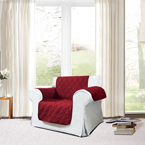 Supreme Betten Sofa Bezug Überwurf rutschsicheren Wasser Sofa Displayschutzfolie Maschinenwaschbar Slip Cover Möbelschutz geeignet für Haustiere und Kinder, Mikrofaser, burgunderfarben, 1 Seater Slip Cover Für Sofa Bett