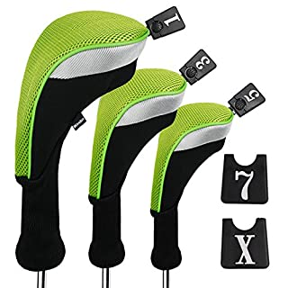 Andux 3pcs/Set Golf 460cc Driver Wood Head Covers with Long Neck and Interchangeable No. Tags Pack of 3 (Long Neck, Green, MT/MG24)