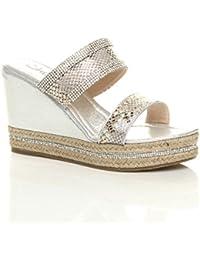 7c82f6a05c9 Ajvani Womens Ladies high Wedge Heel Diamante Strappy Platform Sandals  Espadrilles Size