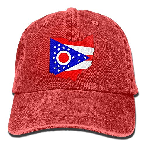 Preisvergleich Produktbild Voxpkrs Unisex Adult Ohio State Map Flag Washed Denim Retro Cowboy Style Baseball Hat Sun Hat Trucker Hat Adjustable Dad Hats DV2333