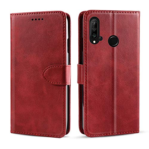 BasicStock Lenovo Z6 Lite Case, Protective PU Leather Book Wallet Case with Stand Function, Shockproof Cover for Lenovo Z6 Lite (Red)