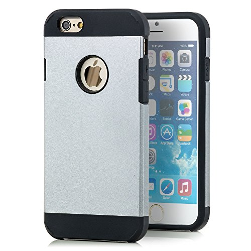 Saxonia iPhone 6 / 6S Hülle Hybrid Silikon Case Schutzhülle Back Cover Outdoor Extra Robust Weiß Silber
