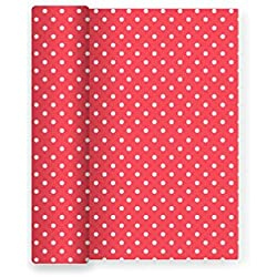 Mantel de papel para fiesta con decorado de lunares. Ideal para celebraciones infantiles, cumpleaños, aniversarios o fiestas temáticas - Color Rojo - 1,2 x 5 m