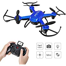 Potensic Hover Drone 186C con Cámara HD 2MP, 2.4GHz 4CH 6-Axis Gyro RC Quadcopter, Mini Drone Videocámara RTF Estabilización de Altitud, Modo Sin Cabeza, 3D Flips-Azul