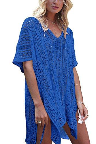 Le Donne L'estate A Bikini Insabbiamenti Costumi Beachwear Mini Vestito Blue