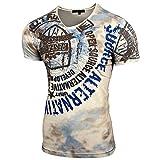Rusty NealHerren V-Neck Strass Vintage T-Shirt Kurzarm Slim Fit Design Fashion Top Print Strass Shirt 15163, Farbe:Beige;Größe:S