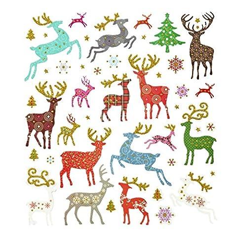 40 Stück glitzernde Weihnachts-Sticker Weihnachts-Aufkleber Kinder-Sticker Elch Rentier Hirsch türkis, blau, rot, grün, bunt, grau zu Weihnachten; Größe 0,5 bis 5 cm - als Deko zu Weihnachten