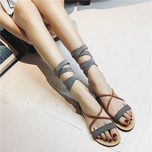 XY&GKFuß Ring Riemen Sandalen Cross Strap Sandals All-Match süße Wort Wohnungen, komfortabel und schön 39 grey