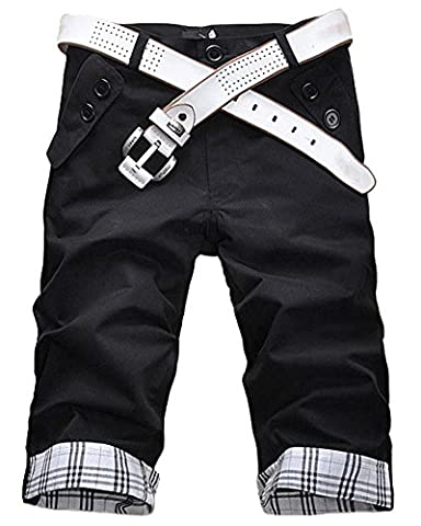 Men Casual Plaid Pleated Pockets Cargo Shorts Pants Trousers(Belt not include) Black L