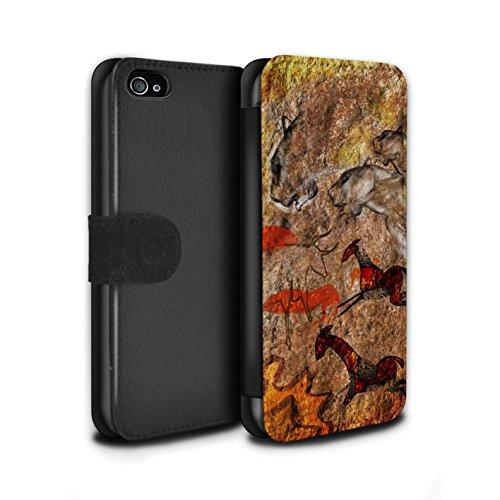 Stuff4 Coque/Etui/Housse Cuir PU Case/Cover pour Apple iPhone 4/4S / Pack 5pcs Design / Peinture Rupestre Collection Débandade/Rouge
