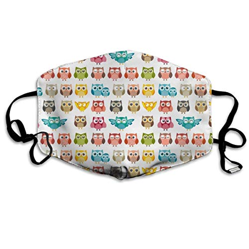 Women & Men Earloop Half Face Mouth Mask Mouth Masks Dustproof Mouth-Muffle - Premium Windproof Kaomoji Mouth Mask for Kids Youth Boys Girls (Cute Owl Funny Owl Pattern)