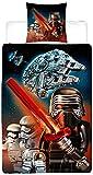 Biber Lego Kinder Wende-Bettwäsche Star Wars Millennium 135 x 200 + 80 x 80 cm 100% Baumwolle Biber Flanell Clone Starwars BB-8 Kylo Ren Stormtroopers Finn Rey The last Jedi 2 Motive deutsche Größe