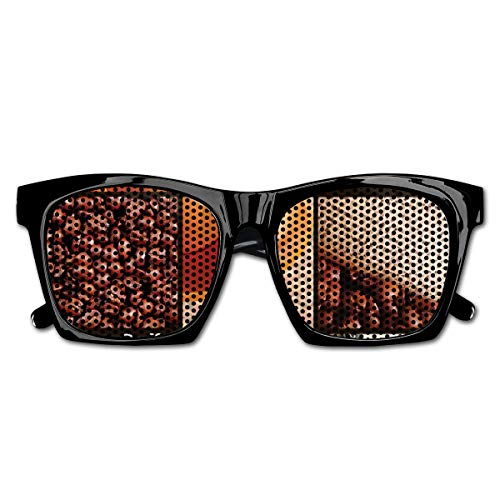 EELKKO Mesh Sunglasses Sports Polarized, Square Frames Collage Design with Orange Cup Hot Beverage Morning Drink,Fun Props Party Favors Gift Unisex