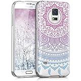 kwmobile Hülle für Samsung Galaxy S5 Mini G800 - TPU Silikon Backcover Case Handy Schutzhülle - Cover klar Indische Sonne Design Blau Pink Transparent