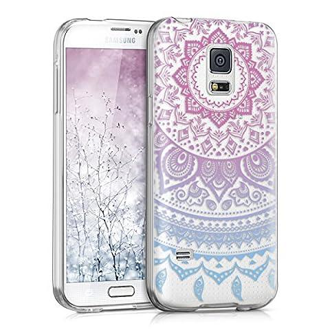 kwmobile Hülle für Samsung Galaxy S5 Mini G800 - TPU Silikon Backcover Case Handy Schutzhülle - Cover klar Indische Sonne Design Blau Pink