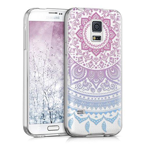kwmobile Samsung Galaxy S5 Mini G800 Hülle - Handyhülle für Samsung Galaxy S5 Mini G800 - Handy Case in Blau Pink Transparent