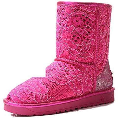 Ispessito rotondo manica moda inverno stivali/ pizzo paillettes tubo di stivali di neve calda/Appartamento casuale scarpe
