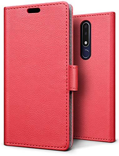 SLEO Hülle für Nokia 3.1 Plus, PU Leder Case Cover Tasche Schutzhülle Flip Case Wallet im Bookstyle für Nokia 3.1 Plus Hülle - Rot