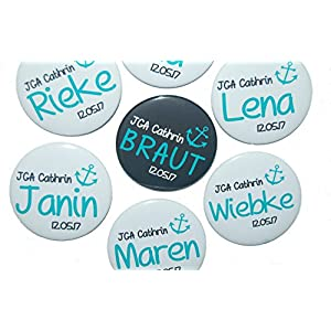 JGA-Button Set, groß, 50mm, Hochzeit-Junggesellenabschied, personalisiert, Menge und Text individuell auswählbar, Ansteckbutton, Motiv: Anker