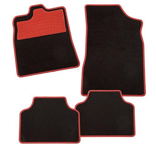 CarFashion 235442 Colori Rot AM1, Auto Fussmatte in schwarz, Automatten, roter Trittschutz, rote Hochglanz Kettelung, Auto Fussmatten Set ohne Mattenhalter