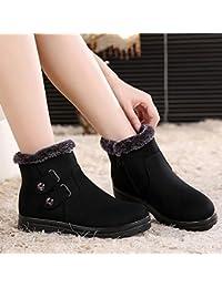 Shukun Botines Botas de algodón de Las Mujeres en los Ancianos Zapatos de algodón de la