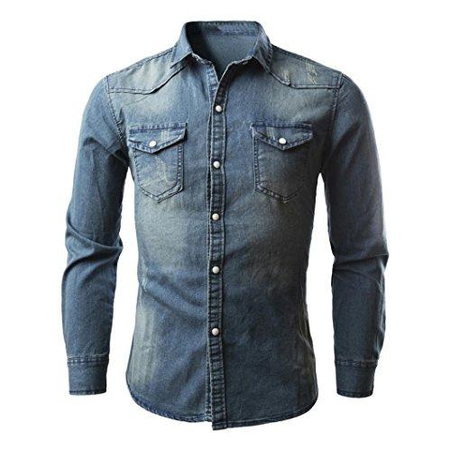Herren Langarmshirts,Frashing Herrenhemden Retro Jeanshemd Cowboy Bluse Schlank Thin Long Tops Denim Fit Hemd Shirt Herrenhemd Jeans angarmhemd Cowboy-Style Freizeit (L, Blau)