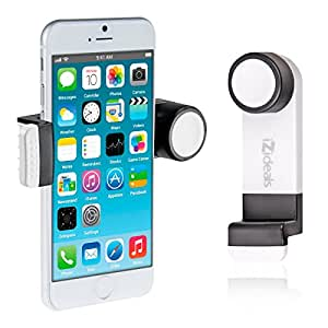 IZIDEAL support blanc- kit main libre - kit bluetooth - téléphone pour voiture grille d'aération, ventilation mobile Apple iPhone4/4S, iPhone5, iPhone5C, iPhone5S, Samsung Galaxy S3, Apple iPod touch, GPS,